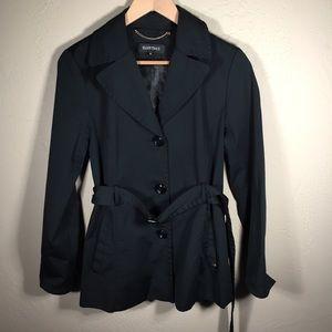 Ellen Tracy jacket raincoat black belted Sz. M
